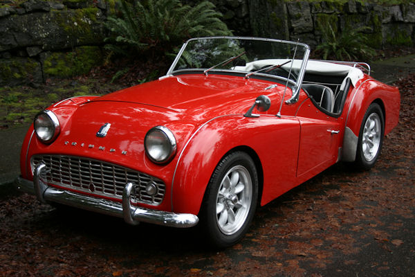 1961 triumph tr3 overdrive front red exterior